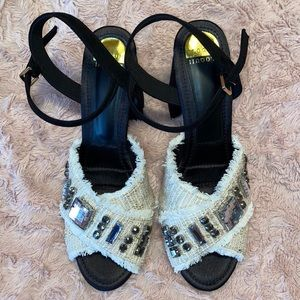 Black and white Chanel Style chunky sandal heels